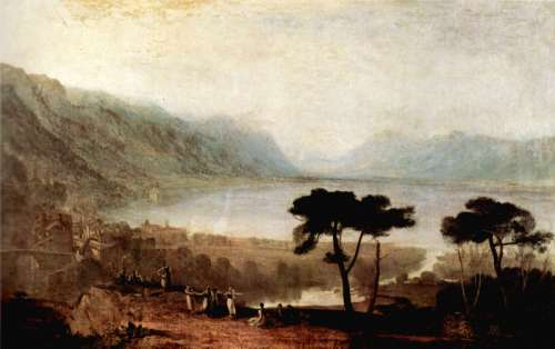 Lake Geneva as seen from Montreux in 1810 in Switzerland free photo