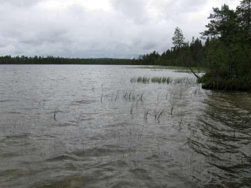 Lake Kalettomanlampi landscape in Puolanka, Finland free photo