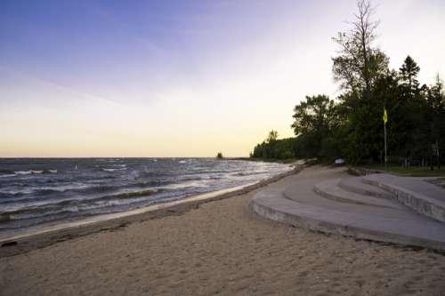 Lake Michigan Beach landscape at J.W. Wells State Park, Michigan free photo