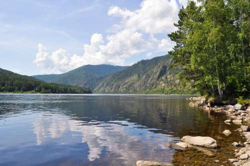 Landscape and Lake in the summer in Russia free photo