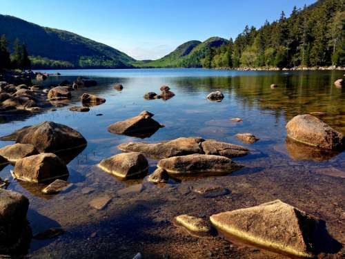 Landscape and scenic of mountains and lake at Acadia National Park, Maine free photo
