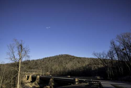 Landscape and Wheeler Bridge at Echo Bluff State Park, Missouri free photo