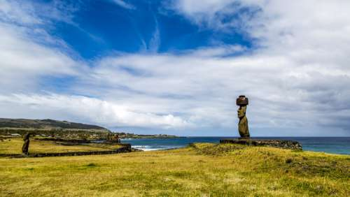 Landscape of Easter Island with sky and statue in Chile free photo