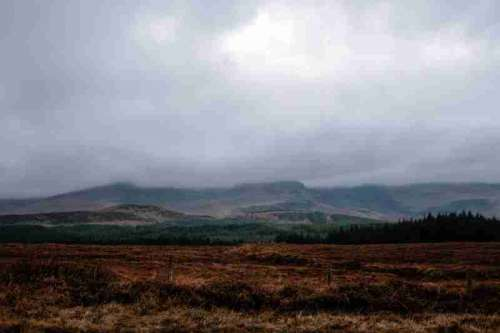 Landscape of Fog and Hills at Isle of Skye, Scotland free photo