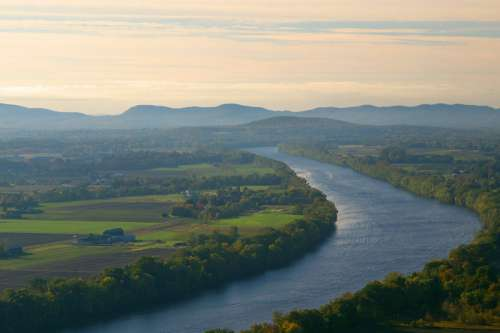 Landscape of the Connecticut River and Mount Sugarloaf free photo