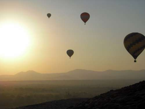 Landscape view from hot air Balloons in Teohithuacan, Mexico free photo