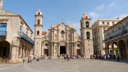 Large church and courtyard in Havana, Cuba free photo