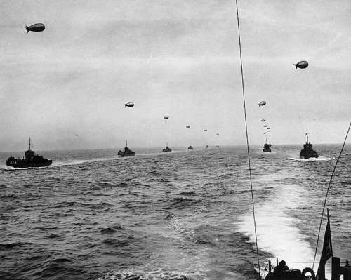 Large landing craft convoy crosses the English Channel in D-day, World War II free photo