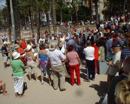 Late morning community singing in Benidorm, Spain free photo
