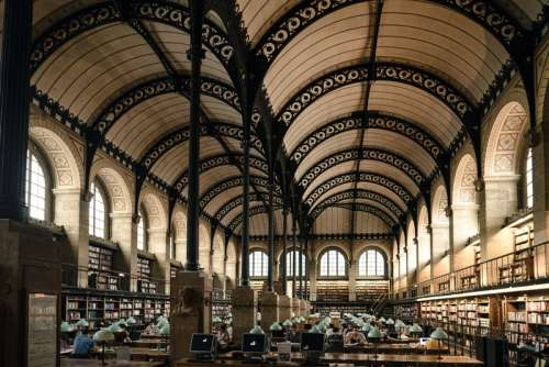 Library Interior in Paris, France free photo