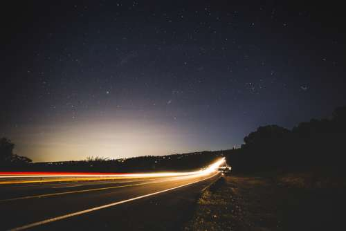 Lighted highway under the stars at Forest Hill Bridge, California free photo