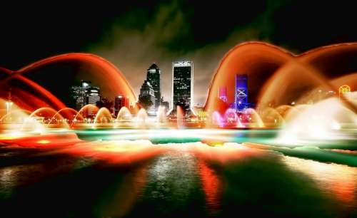 Lighted Water with skyline at night in Jacksonville, Florida free photo
