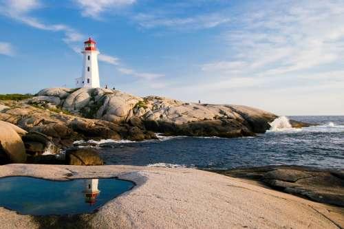 Lighthouse and Coastal Landscape in Nova Scotia free photo