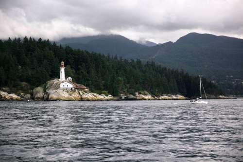 Lighthouse on the shore in Vancouver, British Columbia free photo