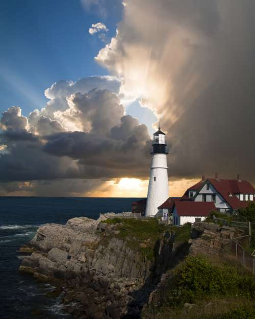 Lighthouse sky and landscape in Portsmouth, New Hampshire free photo