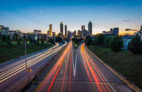 Lights and traffic on the roadways in Atlanta, Georgia free photo