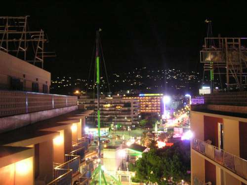 Lloret de Mar at night with lights in Spain free photo