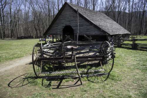 Log House with cart in front at Great Smoky Mountains National Park, North Carolina free photo