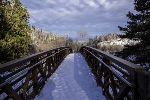 Looking Across the bridge at Gooseberry Falls State Park, Minnesota free photo
