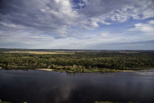 Looking across the Wisconsin River at Ferry Bluff free photo