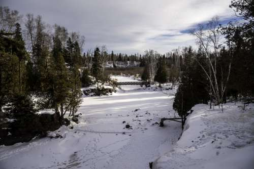 Looking down the Gooseberry River landscape at Gooseberry Falls State Park, Minnesota free photo