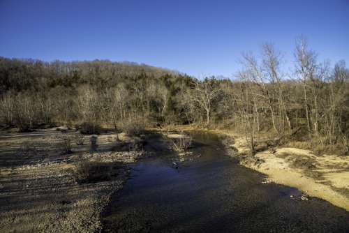 Looking Downstream on the current river at Echo Bluff State Park, Missouri free photo