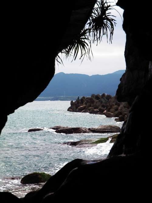 Looking from inside the cave in Taiwan free photo