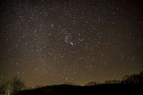 Lots of Stars night Sky with hills in Echo Bluff State Park, Missouri free photo