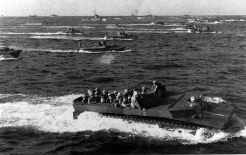 LVTs approach Iwo Jima during World War II free photo
