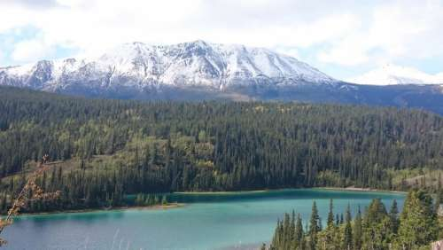 Majestic Landscape with lake, Mountains, and Forest in Yukon Territory, Canada free photo