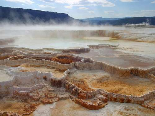 Mammoth Springs in Yellowstone National Park, Wyoming free photo
