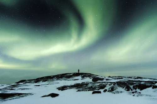 Man watching Aurora Borealis in Teriberka, Russia free photo