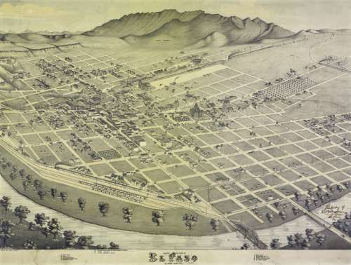 Map of El Paso in 1886 in Texas free photo
