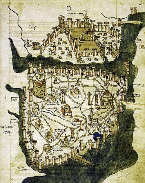 Map of Istanbul, Turkey drawn in 1422. free photo
