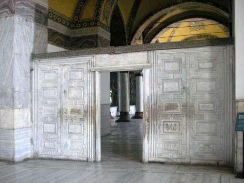 Marble Door in Hagia Sophia in Istanbul, Turkey free photo
