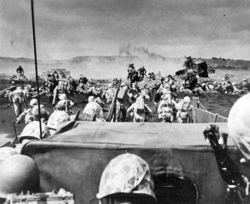 Marines landing on the beach at Iwo Jima, World War II free photo