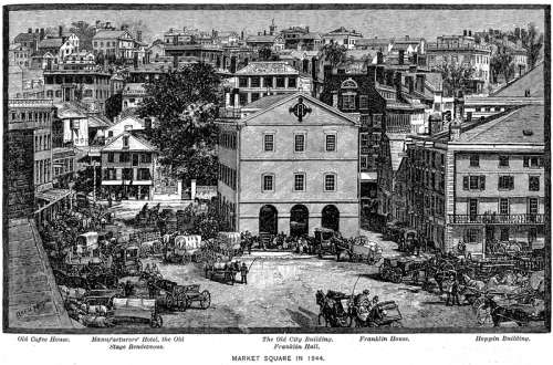Market Square Providence in 1844 in Rhode Island free photo