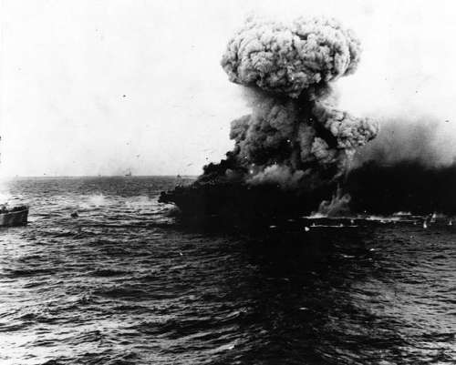 Massive Explosion on the Lexington during the Battle of Coral Sea, World War II free photo
