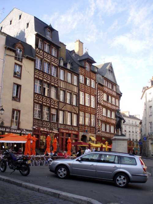 Medieval houses at Champ-Jacquet in Rennes, France free photo