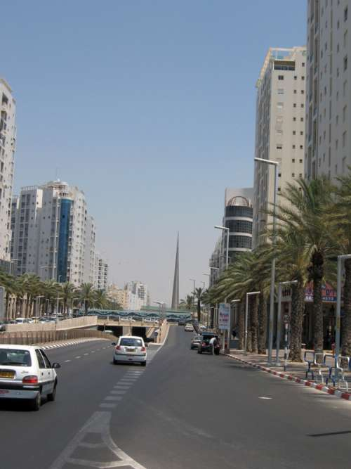 Menachem Begin Boulevard road and cars in Ashdod, Israel free photo