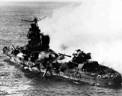 Mikuma shortly before sinking during Battle of Midway, World War II free photo