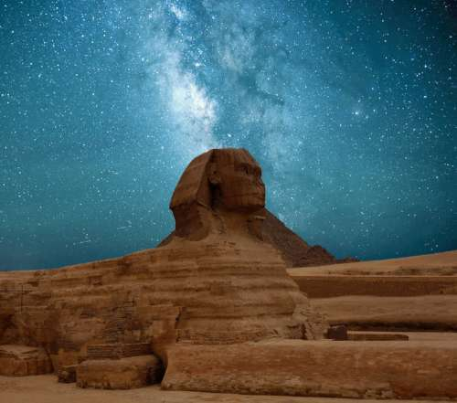 Milky Way Galaxy over the Sphinx in Giza, Egypt free photo