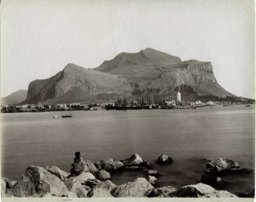 Monte Pellegrino pictured at the end of the 19th century in Palermo, Italy free photo
