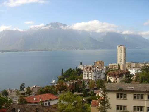Montreux and Lake Geneva landscape free photo