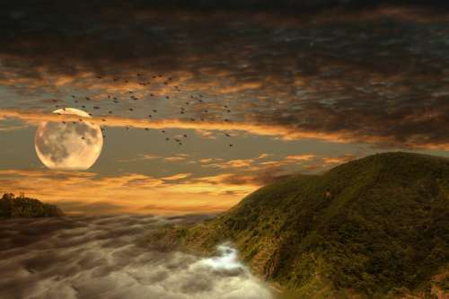 Moonrise Landscape Illustration free photo