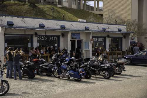 Motorcyclists at a Bar in Yorktown, Virginia free photo