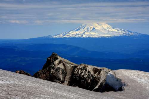 Mountain and Volcano with snow-capped in the landscape free photo