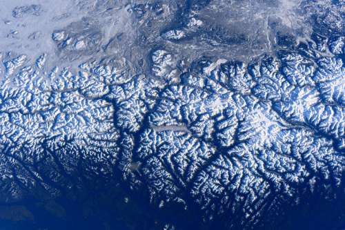 Mountains flyover on the International Space Station in British Columbia, Canada free photo