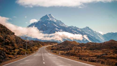 Mountains landscape and road in New Zealand free photo
