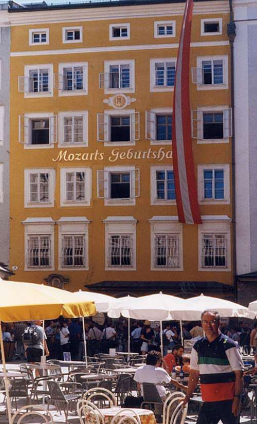 Mozart's birthplace and streets in Salzburg, Austria free photo